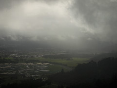 Lay. (Ure.Eljay) Tags: newzealand cloud green nature rain fog clouds landscape town view farm olympus prison nz farms drizzle ep1 mft olympu