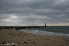 Near Montauk (alison.toon) Tags: ocean newyork beach clouds grey waves gray stormy longisland pilings montauk groyne oceancloud