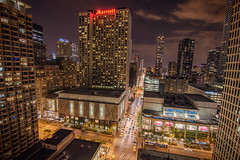 Chicago Magnificent Mile (Werner Kunz) Tags: street usa chicago night america photoshop marriott fence lights hotel nikon downtown wideangle howto hdr magnificentmile photomatix colorefex d7000 topazadjust werkunz1