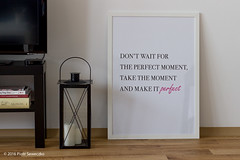 Poster in our living room. (Piotr Saweczko / savek) Tags: szczygiel poland candles candle white diy motivation room living livingroom perfect floor books book gtd tv lamp appletv home poster tookapic