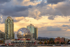 Reflections of a sunset (CAN Photo) Tags: falsecreek travelandtourism sunset goldenhour water buildings outdoor boats britishcolumbia clouds vancouver highrise travel refelections evening canada traveldestination sienceworld warmcolours telusworldofscience