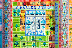 Charles Square (Florian Btow) Tags: 135mm london architecture charles square tiles colorful green orange detail wall