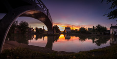 A Bridge to the Sun (derekgordon1) Tags: nikon sigma 1020 pano panorama water canal bridge structure sunrise sky reflections greyhound pub coventrycanal westmidlands oxfordcanal coventry exhall ironbridge suttonstop sun morning earlymorning dawn twilight calm peaceful relaxing quiet silent solitary outside outdoors landscape waterscape