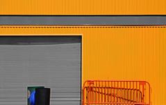 oggi chiuso (Rino Alessandrini) Tags: magazzino garage chiuso urbano periferia colori lamiera arancione giallo grigio saracinesca transenne geometria composizione astratto metropolitano geometrie forme closed warehouse urban periphery color orange yellow gray metal gate hurdles geometry composition abstract metropolitan shapes