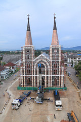 Recontruction of the Chanthaburi Cathedral (100-year Anniversary) (baddoguy) Tags: anniversary architecture bank buildingexterior builtstructure businessfinanceandindustry cathedral catholicism celebration christianity cityscape colorimage community constructionindustry cultures eastasia gothicstyle history nopeople outdoors photography rebuilding religion restoring river riverbank thailand town truck vertical waterfront