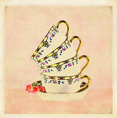 Stacked Coffee Cups with Flowers (ocanannain) Tags: cups coffee tea porcelain texture textured painterly