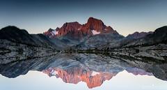 Flipped (ihikesandiego) Tags: mount ritter banner peak sierra sunrise garnet lake reflections