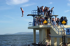 Taking No Chances. (mcginley2012) Tags: divingboard salthill blackrock summer2016 dive jump crowd people swim galwaybay steps railings ireland fun takingnochances