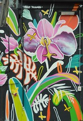 Street Tropic (dhcomet) Tags: streetart art painting spraypaint talent talented london public tropical flower bright colourful loud oldstreet