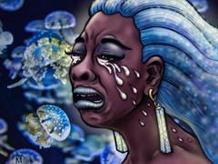 #114 - Cry (J-T-M) Tags: drama woman emotion jellyfish blue aquarium fishtank aquatic tears flow drawing art