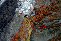 Snout from Above (Dru!) Tags: mitchell glacier coastmountains seabridge ksm bell2 runoff iron melt glacial retreat unukriver moraine till river bc britishcolumbia canada sinkhole ice aerial boundaryranges