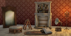 634  Dream Library (Sannita_Cortes) Tags: secondlife sl virtualworld virtualfurniture furniture decoration virtualdecoration gacha irriesdollhouse wallpaper thechapterfour