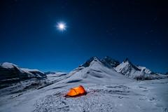 Midnight Moon (Henry w. L) Tags: banff jasper alberta winter moon mountains camping adventure tent landscape canada