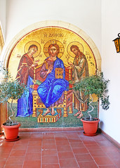 Kykkos Monastery (chrisdingsdale) Tags: abbey ancient architecture bible building christianity church cloister court ceiling pattern picture icon cultural culture cyprus destinations wall europe historic history holy greek indigenous kykkos kykkou mosaic mediterranean monastery museum obsolete old orthodox ornaments past religion religious saint sanctuary spirituality tourism traditional travel unesco vault vintage green blue arch red yellow colors colorful paint painting drow brown plant pot