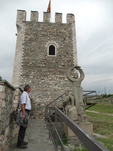Skopje - Kale Fortress Tower and Statue and Paul