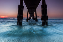 Getting Wet Under The Pier (tobyharriman) Tags: pictures sanfrancisco california ca flowers sunset seascape water northerncalifornia canon landscape pier under scenic bayarea pacificapier tobyharriman camerasubmerged