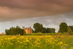 Storm over the castle... (Marcel Tuit) Tags: holland castle me canon landscape eos nederland thenetherlands 7d thunderstorm wildflowers maas oude landschap waterlinie kasteel nieuwe waal hollandse wildebloemen slotloevestein onweerswolk marceltuit munikenland