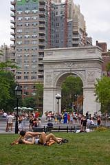 Washington Square on a muggy day (StacyGKinNJ) Tags: nyc summer ny arch manhattan washingtonsquarepark washingtonsquare greenwichvillage elementsorganizer