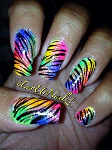 A closer look at My zebra rainbow gradient look at those colors pop!!