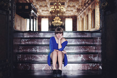 The silence is so loud (+ part II in comments) (Anne Mortensen) Tags: blue portrait castle girl denmark anne dress bored chandelier staircase angry mortensen
