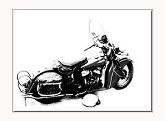 VintageIndian (Mel ( RiderBlues )) Tags: white black bike photoshop vintage indian highcontrast motorcycle biker portdover
