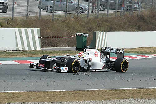 Sergio Perez in his Sauber at Formula One Winter Testing, Circuit de Catalunya, March 2012