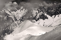 Great Things Are Done When Men and Mountains Meet - William Blake (ionut iordache) Tags: bw mountain snow france canon blackwhite canonef2470mmf28lusm montblanc frenchalps aiguilledumidi winterbeauty rhnealpes montblancmassif canoneos50d massifdumontblanc canon50d