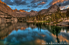 Blue Lake (Bob Bowman Photography) Tags: trees sunset lake mountains color reflection water clouds nikon rocks glacier granite sierras peaks bluelake highsierra johnmuirwilderness colorphotoaward thompsonridge fishrise micarttttworldphotographyawards micartttt rmbimages