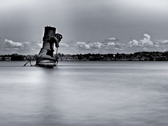 Out of the Water (MomoFotografi) Tags: bw white black art monochrome 30 digital river boat site stem long exposure noir ship cardinal 110 engine diving olympus rivire steam exposition shipwreck filter stlawrence nd