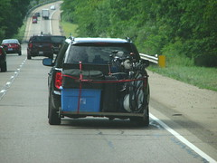 IMG_7303 (Through my windshield) Tags: car golf luggage clubs bent overloaded axle