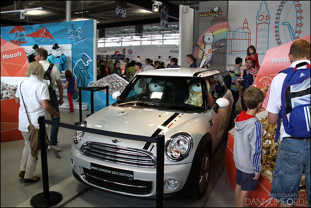 Wenlock and Mandeville driving a Mini!