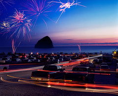 How to spend a 4th of July (Zeb Andrews) Tags: film beach oregon coast fireworks pacificocean fourthofjuly pacificnorthwest 4thofjuly haystackrock independenceday parkinglots pacificcity capekiwanda explosionsinthesky pentax6x7 bluemooncamera