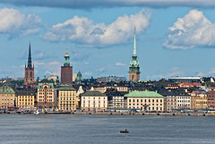Stockholm of the old city. Sweden. (Andrey Bodrov) Tags: world street old city travel blue sea summer vacation sky urban panorama cloud house color building tower tourism church water beautiful beauty architecture landscape bay harbor boat town scenery colorful europe day ship cityscape exterior waterfront view cathedral sweden stockholm famous capital scenic landmark swedish baltic stan scandinavia scandinavian gamla