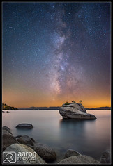 Bonsai Milk (Aaron M Photo) Tags: california longexposure light sky lake nature water rock stars landscape star scenery nevada scenic tahoe laketahoe galaxy le astrophotography bonsai astronomy milky bonzai southlaketahoe d800 milkyway bonzi southlake startrail earthandspace nikond800 bonsairock siliconvalleyphotography aaronmeyersphotography co