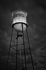 Campbell Water Tower........ (M. Shaw) Tags: california longexposure history night clouds lights downtown cloudy watertower historic bayarea siliconvalley campbell ndfilter cloudynight 2470mmf28l mshaw 5dmark2 canoneos5dmarkll silverefexpro2