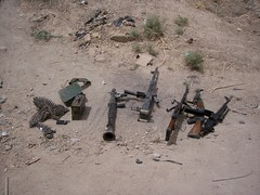 Insurgent weapons used to attack us. (berryns1) Tags: usmc iraq rpg humvee m2 ak47 fallujah akm 50cal insurgency m16a4 pkc