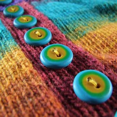 My first buttons (Fulgorine) Tags: yellow knitting turquoise polymerclay button cardigan skinnerblend