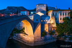 Mostar - Twilight at Stari Most (Yen Baet) Tags: city travel bridge architecture river photography photo twilight ancient europe european cityscape mostar bosnia postcard unesco worldheritagesite restoration ottoman picturesque reconstruction starimost rehabilitation bosniaandherzegovina neretvariver bosniaihercegovina yenbaet croatbosniakwar