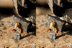 Jar-Jar on the rocks [3D cross-eyed stereogram] (zJMac) Tags: light sunset ontario canada stone canon john river star golden kiss rocks lego ottawa rapids balance wars felice binks t3i x5 remic jarjar 600d ceprano zjmac