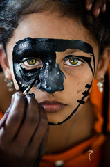 The job of the artist is to always deepen the mystery... (Rakesh JV) Tags: street homes portrait india black green girl face mystery kids p