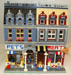 Pets or Meat? (notenoughbricks) Tags: lego butcher modular townhall marketstreet moc greengrocer grandemporium petsormeat legocity cafecorner ilugny legopetshop