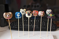 Cake Pops (madameskitchen) Tags: bear dog halloween cat puppy logo candy teddy witch kitty sprinkles pomeranian facebook rilakkuma cakepops instagram