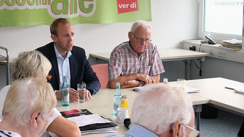 Austausch mit den ver.di-Senioren zur Stärkung der Rente in Oldenburg.