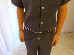 Grey Prison Jumpsuit (boblaly) Tags: grey prison jumpsuit uniform prisoner inmate jail handcuffs cuffed shackled shackles restraints detention