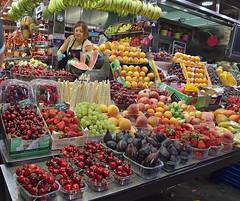 Fruit stall, Barcelona (nisudapi) Tags: 2016 spain barcelona market fruit cherries mercado boqueria larambla fruitstall strawberries