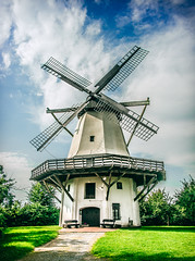Windmill (Monika ukauskyt) Tags: windmill mill sky clouds bluesky grass trees hdr germany tonnenheide rahden mindenlubbecke