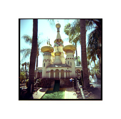 Mini Golf Heaven (tomusan) Tags: holgacolor film kodakportra minigolf goofygolf miniaturegolf domes outdoors