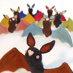 Bats! (MelissaSueArt) Tags: bat bats halloween felt wool handmade plush stitched embroidery softsculpture designertoy wire sweet collectable