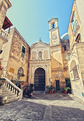 Abbazia di San Michele Arcangelo - Isola di Procida (Italy) (Andrea Moscato) Tags: andreamoscato europe italia architecture architettura chiesa church catholic city citt town civiccenter house case shadow light blue yellow sun view vista vivid stair entrance edificio building island mediterraneo mediterranean ancient history historic