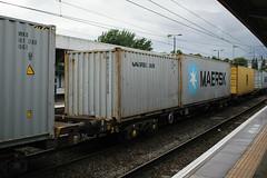 93356 Northampton 040816 (Dan86401) Tags: 93356 tiph93356 93 kfa freightliner fl intermodal modal container flat wagon freight tiph touax rautaruuki northampton wcml 4l92 maerskline maersk